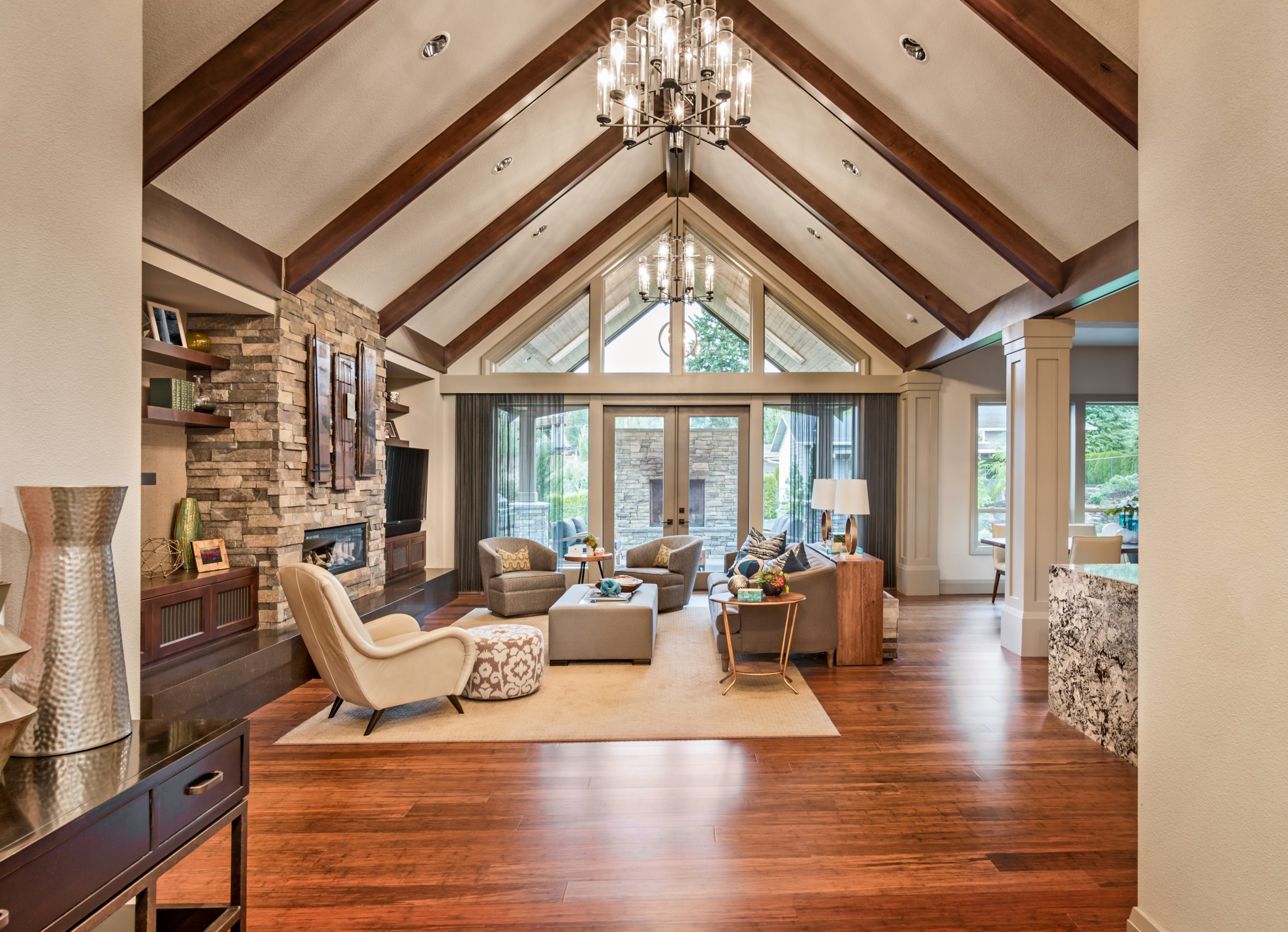Luxurious Living Room with Sunset View   lombard window replacement