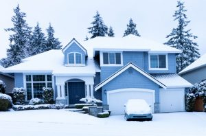 a home sits in the winter