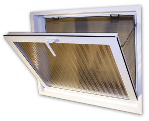 open hopper window with etched lines in glass